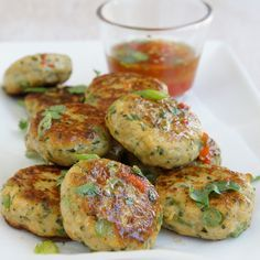 """SpiceGirls's Thai Fish Cakes - """"Family friendly, yummy for lunch the next day too with a salad. Fish Cakes Recipe, Fish Recipes, Seafood Recipes, Asian Recipes, Appetizer Recipes, Cooking Recipes, Brunch Recipes, Meat Recipes, Finger Food"""