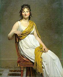 """Madame Raymond de Verninac by Jacques-Louis David, with clothes and chair in Directoire style. """"Year 7"""", that is 1798-99."""