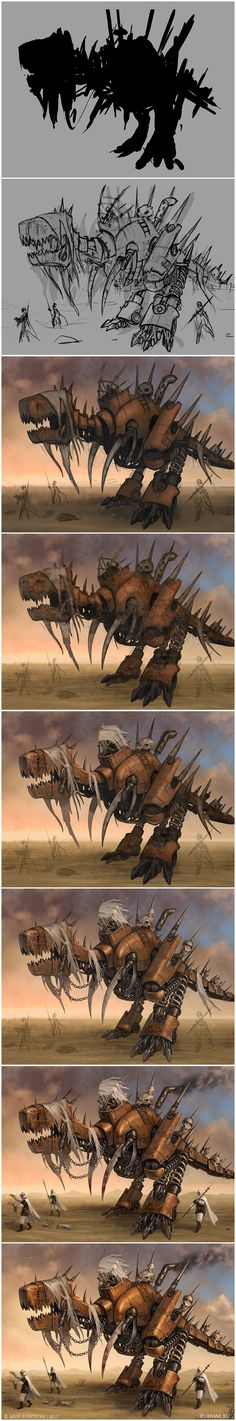 Steam raptor - Steps by DevBurmak.deviantart.com on @deviantART