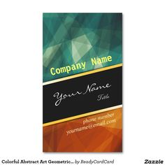 Colorful Abstract Art Geometric Pattern Gold Strip Standard Business Card