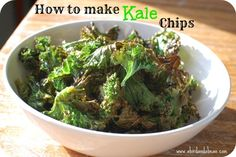 """How to Make Kale Chips - A healthy and delicious recipe for a homemade snack; this is my """"go to"""" when I want chips!"""
