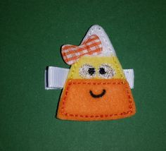 Girly candy corn girls Halloween hair clip by PrettyThingsBows, $3.50