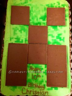 Coolest Minecraft Birthday Cake... This website is the Pinterest of birthday cake ideas