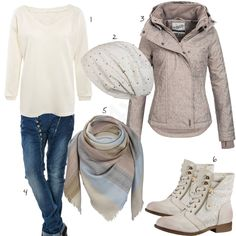 Beiges Damen-Outfit mit Sublevel Übergangsjacke (w0664) #mütze #schal #jeans #stiefel #outfit #style #fashion #womensfashion #womensstyle #womenswear #clothing #styling #outfitfrauen #frauenmode #damenmode #handtasche  #inspiration #outfitfrauen #frauenoutfit #damenoutfit #cloth