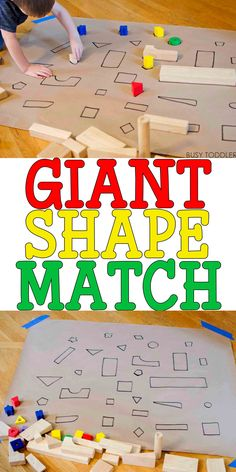 How To Produce Elementary School Much More Enjoyment Giant Shape Match: Check Out This Awesome Indoor Math Activity For Toddlers And Preschoolers An Awesome Rainy Day Activity Quick And Easy To Set Up Easy Toddler Activity Easy Preschool Activity Diy Math Toddlers And Preschoolers, Math Activities For Toddlers, Preschool Ideas, Stem Activities, Alphabet Activities, Preschool Projects, Games For Preschoolers Indoor, Toddler Gross Motor Activities, Shapes For Toddlers