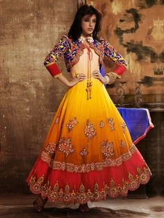 Yellow And Cream Georgette Anarkali Suit With Embroidery And Diamond Work www.saree.com