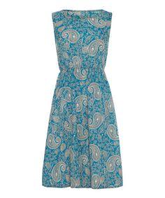 Blue Paisley Front Pocket Dress
