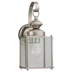 Sea Gull Lighting 8457-965 Single-Light Jamestowne Outdoor Lantern with Clear Beveled Glass, Antique Brushed Nickel by Sea Gull Lighting. $74.48. From the Manufacturer                Jamestowne Single-Light Large Outdoor Wall Lantern Finished in Antique Brushed Nickel with Clear Beveled Glass is generous welcoming light from this unassuming yet stylish collection. The antique brushed nickel together with the clear beveled glass is perfect outdoor illumination. Width: 5-1/4-Inch;...