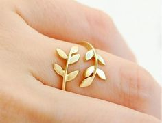 Free Shipping Korean Style Cute Leaf Design Rings