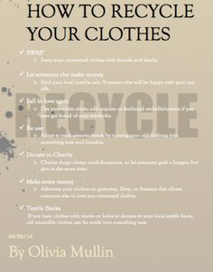 - Olivia Mullin - Here are some different ways of recycling your old clothes! - Ref: My own image created on Adobe Illustrator. Water Pollution, Falling In Love Again, Energy Use, Old Clothes, Adobe Illustrator, How To Make Money, Recycling, Finding Yourself, Let It Be