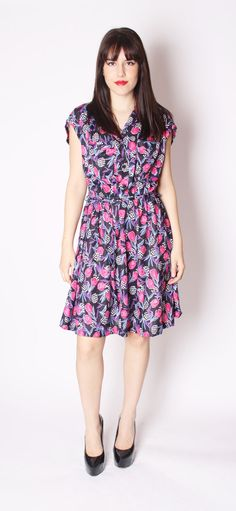 Vintage Short 70s Tulip Floral Flirty Day Dress / by aiseirigh, $64.00