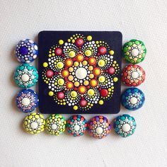 Stip Art Mandala magneet geschilderd hout door CreateAndCherish