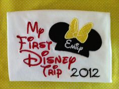 Personalized My First Trip to Disney Applique Ears, Bow, and Year Tee Shirt. $20.00, via Etsy.