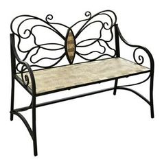 Mosaic tile butterfly bench