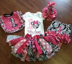 Minnie Mouse Fabric Tu Tu Birthday Outfit by BriarPatchBoutique02