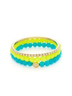 Tai Jewelry Set Of 3 Neon Yellow, Neon Blue, & White Iridescent Bead Stretch Bracelets