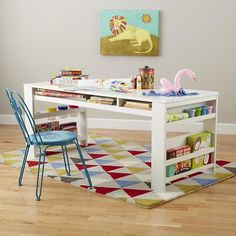 The Land of Nod | Kids' Play Table: Kids White Play Table with Side Bin in Play Tables