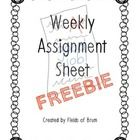 Let's celebrate going back to school with this Back to School freebie!   Help your students keep track of homework assignments with this weekly ass...