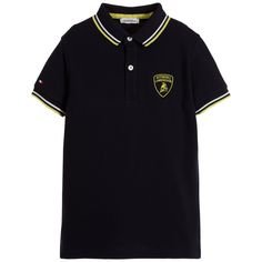 AUTOMOBILI LAMBORGHINI Boys Blue Cotton Piqué Polo Shirt Bull Logo 67ced4d97c3
