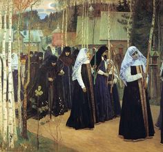 Mikhail Nesterov (1862-1942) painted scenes of Orthodox religious mysticism.  Appearance of the Mother of God (1910s)  Girls ...