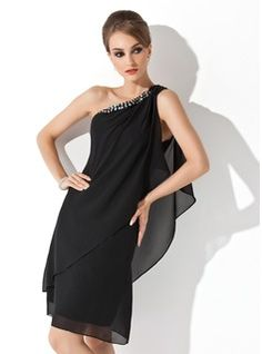 Cocktail Dresses - $130.99 - Sheath One-Shoulder Knee-Length Chiffon Cocktail Dress With Beading  http://www.dressfirst.com/Sheath-One-Shoulder-Knee-Length-Chiffon-Cocktail-Dress-With-Beading-016021244-g21244