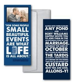 Doctor Who wedding invitations from The Sweetheart Shout Out   Offbeat Bride