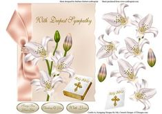 White Lily Symapathy Topper Decoupage on Craftsuprint designed by Barbara Hiebert - this is a sympathy card, that has white lilies and a bible for the decoupage.The sentiment tags if you choose to use them say,Sorry For Your LossThinking Of youWith LoveThere is also a matching insert and verse - Now available for download!