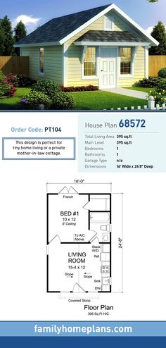 Traditional Style House Plan 68572 with 1 Bed 1 Bath Traditional Style House Plan 68572 with 1 Bed 1 Bath D mostprinzessin Mikrohaus-Design Tiny House Plan 68572 Total Living nbsp hellip Tiny House Cabin, Cottage House Plans, Tiny House Living, Tiny House Design, Cottage Homes, Guest Cottage Plans, Tiny Guest House, Guest House Plans, Shed House Plans