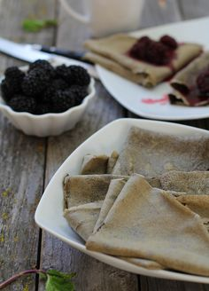 Gluten Free Buckwheat Crepes with Blackberry Mint Topping