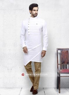 Attractive White Color Pathani Set is part of Mens kurta designs - Buy Online mens Pathani Suit Online