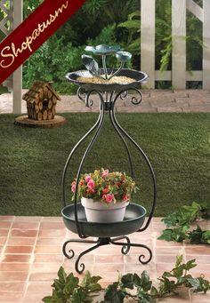 Metal Garden Bird Feeder and Planter Pot Holder
