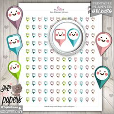 Pin Stickers Map Pin Stickers Pointer Stickers Marker Stickers Flag Stickers Printable Planner Stickers Planner Accessories (1.50 USD) by YupiYeiPapers