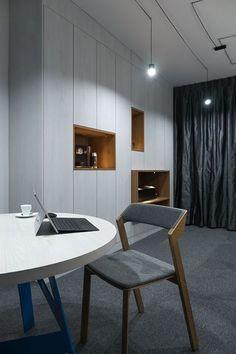 Biuro na Burakowskiej 14 lokal 15 Office Furniture, Furniture Design, Conference Room, Interiors, Lamps, Chair, Home Decor, Lightbulbs, Decoration Home