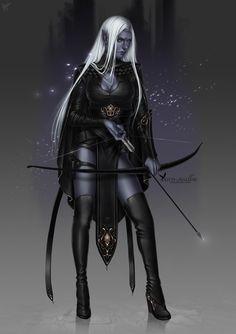 f Drow Elf Ranger Cloak Longbow underdark Fantasy Races, Fantasy Rpg, Medieval Fantasy, Fantasy Artwork, Dark Fantasy, Dungeons And Dragons Characters, Dnd Characters, Fantasy Characters, Female Characters
