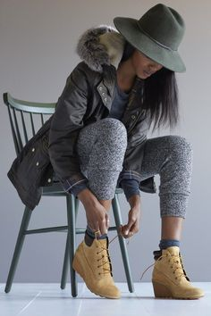 Timberland Boots, an American Icon ~ Fashion & Style Timberland Outfits Women, Timberland Boots Outfit, Timberland Style, Timberlands Women, Timberland Heels, Timberland Fashion, Timberland Earthkeepers, Botas Outfit, Workwear Boots