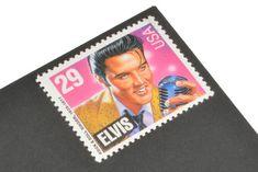 Pack of 25 Unused Elvis Presley Stamps - - Vintage Unused Postage from 1993 - Quantity of 25 Pink And Purple Background, Purple Backgrounds, Pink Purple, Elvis Presley Stamps, Black Envelopes, Wedding Envelopes, Vintage Stamps, Custom Stamps, Unique Vintage