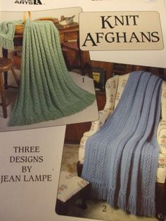 Second Silver - Knit Afghans pattern #2315 Designs by Jean Lampe 1992 chevron lattice diagonal Knitting