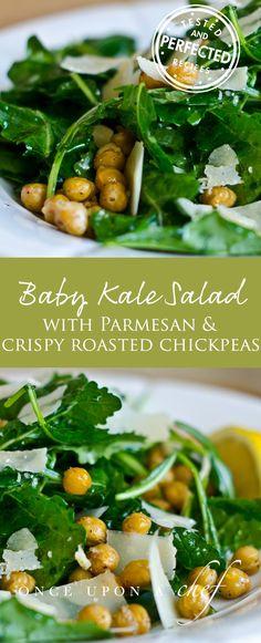 Baby Kale Salad with Lemon, Parmesan & Crispy Roasted Chickpeas