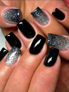 Black nail polish with sparkles, Evening dress nails, Fashion nails 2016, Glitter nails, Gradient nails 2016, Luxurious nails, Medium nails, Rich nails