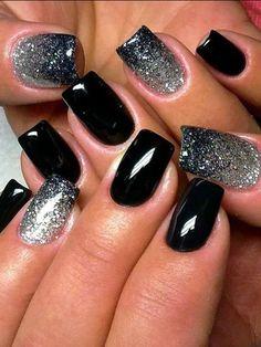 Black nail polish with sparkles, Evening dress nails, Fashion nails 2016, Glitter nails, Gradient nails 2016, Luxurious nails, Medium nails, Rich nails