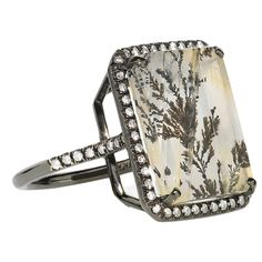 One-of-a-Kind Landscape Mischa Ring set in 18k blackened gold with dendrite agate (10.91cts) and diamonds (0.30cts).
