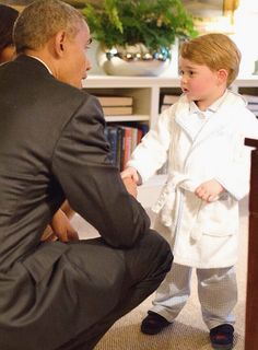 Prince George and US President Barack Obama
