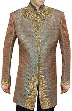 INMONARCH Mens Designer Unique Brocade Sea green Indian Wedding Indo Western IN238