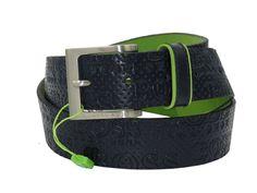 Nwt HUGO BOSS Men's Wenice X Black Leather All Over Engraved Logo Buckle Belt #HUGOBOSS