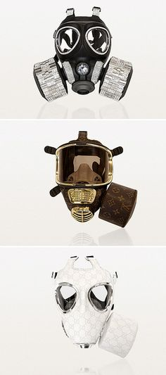 """Designer Gas Masks is an attempt by the artist to visualize the false psychological comfort we feel from brands/icons and their myths. The gas mask form represents our fear that is satiated by our """"culture of consumption."""" By Diddo."""
