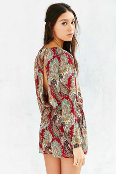 Lucca Couture Silky Open-Back Romper - Urban Outfitters
