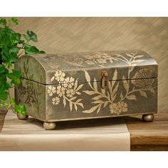 Teal & Silver Leaf Lidded Box - Decorative Accessories - Seasons Gifts and Home Decorative Accessories, Decorative Boxes, Creative Box, Decoupage Box, Tea Box, Altered Boxes, Painted Boxes, Wood Boxes, Box Design
