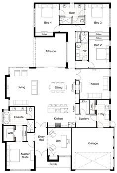 floor plans Floor Plan Friday: 4 bedroom, scullery, eNook Hamptons Style Redesign kids zone with one bathroom inc bath House Layout Plans, New House Plans, Dream House Plans, Modern House Plans, House Layouts, Floor Plans For Houses, Dream Houses, Home Plans, Kitchen Layout Plans