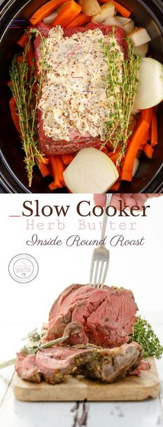 Slow Cooker Herb Butter Inside Round Roast M~Good but after 4 hours in pot had to finish in oven for another 30 minutes. Used 2 roast Boneless inside round roasts are super easy to work with, especially when made in the slow cooker! Slow Cooker Round Roast, Best Slow Cooker, Crock Pot Slow Cooker, Slow Cooker Recipes, Crockpot Recipes, Cooking Recipes, Healthy Recipes, Crockpot Top Round Roast, Copycat Recipes
