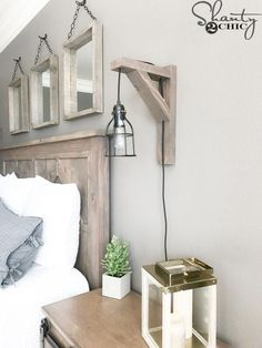 Build this DIY Rustic Corbel Light Sconce for 25 Creative bedroom lamp but perfect for so many spots in your home Free plans at www shanty 2 chic farmhouseBedroom - Diy Rustic Decor, Rustic Lamps, Rustic Lighting, Rustic Signs, Rustic Bedroom Decorations, Modern Lighting, Cabin Lighting, Modern Lamps, Rustic Art